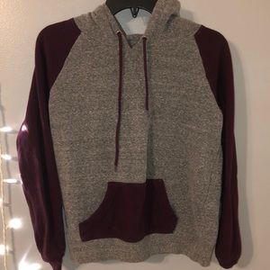 Maroon & grey color block hoodie